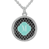 Chic Black Moroccan Lattice Personalized Sterling Silver Necklace