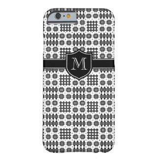 Chic Black on White Faux Welsh Tapestry Pattern Barely There iPhone 6 Case