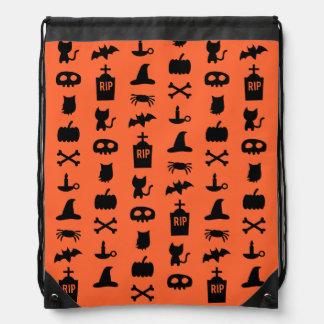 Chic Black Orange Halloween Pattern Bag