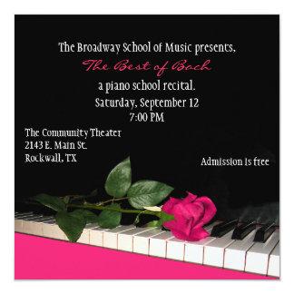 """Chic Black & Pink Custom Piano Recital Invitation 5.25"""" Square Invitation Card"""