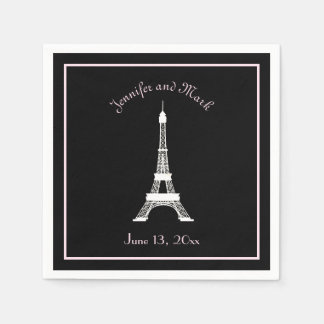 Chic Black Pink White French Eiffel Tower Wedding Paper Napkin
