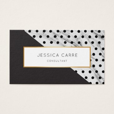 Professional Business Chic Black Polka Dot Marble Gold Business Card
