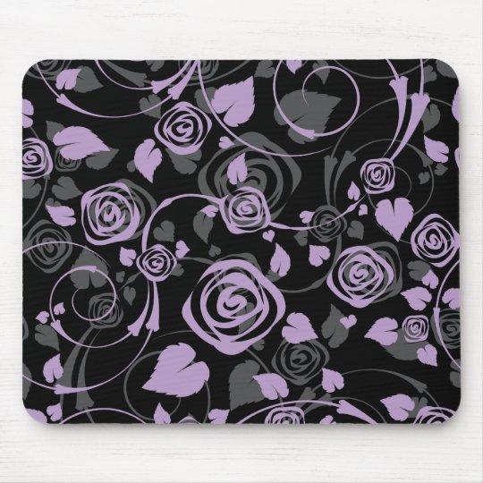 Chic Black & Purple Rose Floral Computer Mouse Mouse Pad