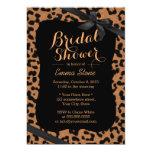Chic Black Ribbon Leopard Print Bridal Shower Card