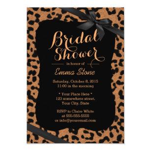 Leopard bridal shower invitations announcements zazzle chic black ribbon leopard print bridal shower invitation filmwisefo