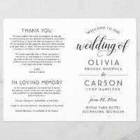 Chic Black Script Wedding Ceremony Program | White