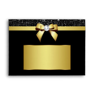 Chic Black Sequins Diamond Gold Bow Envelope