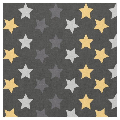 Chic black silver and gold stars space pattern fabric zazzle for Space pattern fabric