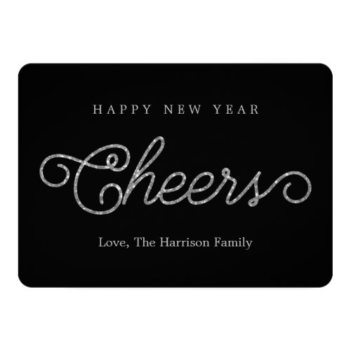 Chic Black & Silver Glitter Cheers Happy New Year 5x7 Paper Invitation Card