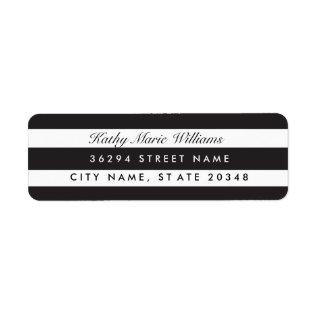 Chic Black Striped Address Labels at Zazzle