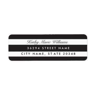 Halloween Themed Chic Black Striped Address Labels