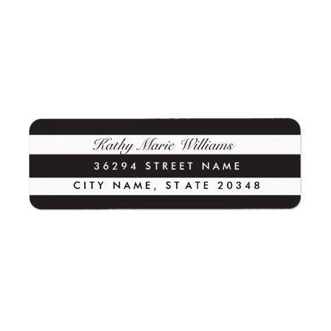 Chic Black Striped Address Labels