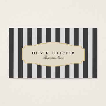 Professional Business Chic Black Stripes Business Cards