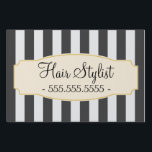 "Chic Black Stripes Custom Hair Stylist Sign<br><div class=""desc"">Elegant yard sign that can be customized with your text.</div>"