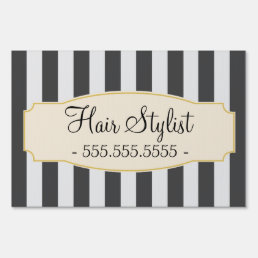 Chic Black Stripes Custom Hair Stylist Sign