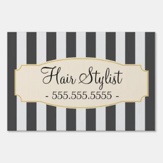 Chic Black Stripes Custom Hair Stylist Sign