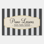Chic Black Stripes Custom Piano Lessons Sign