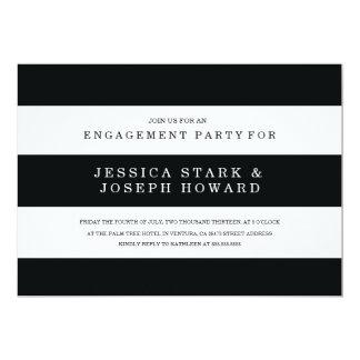 Chic Black Stripes Engagement Party Invite