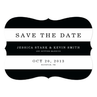 Chic Black Stripes Save the Date Card