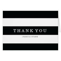 Chic Black Stripes Thank You Card