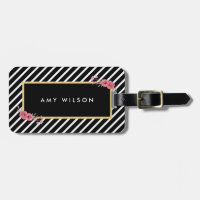 Chic Black Stripes Watercolor Floral Bag Tag