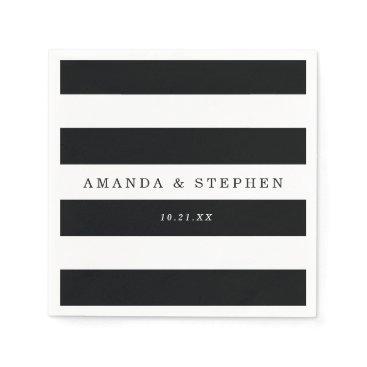 origamiprints Chic Black Stripes Wedding Napkin
