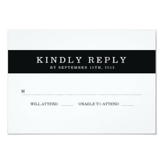 Chic Black Stripes Wedding RSVP Personalized Announcements