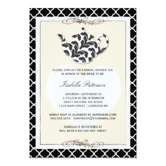 Chic Black Tan Teapot Bridal Shower Tea Party Invitations