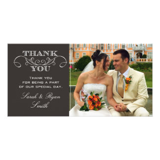 Chic Black Wedding Photo Thank You Cards