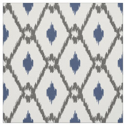 Chic Black white blue ikat tribal diamond pattern Fabric