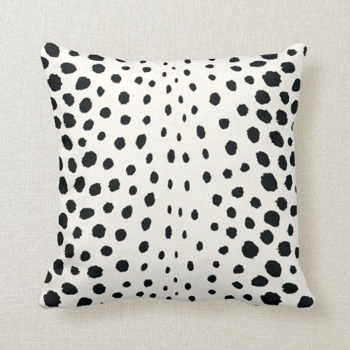 Chic black white cheetah print pattern monogram throw pillow