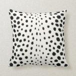 Chic black white cheetah print pattern monogram throw pillow