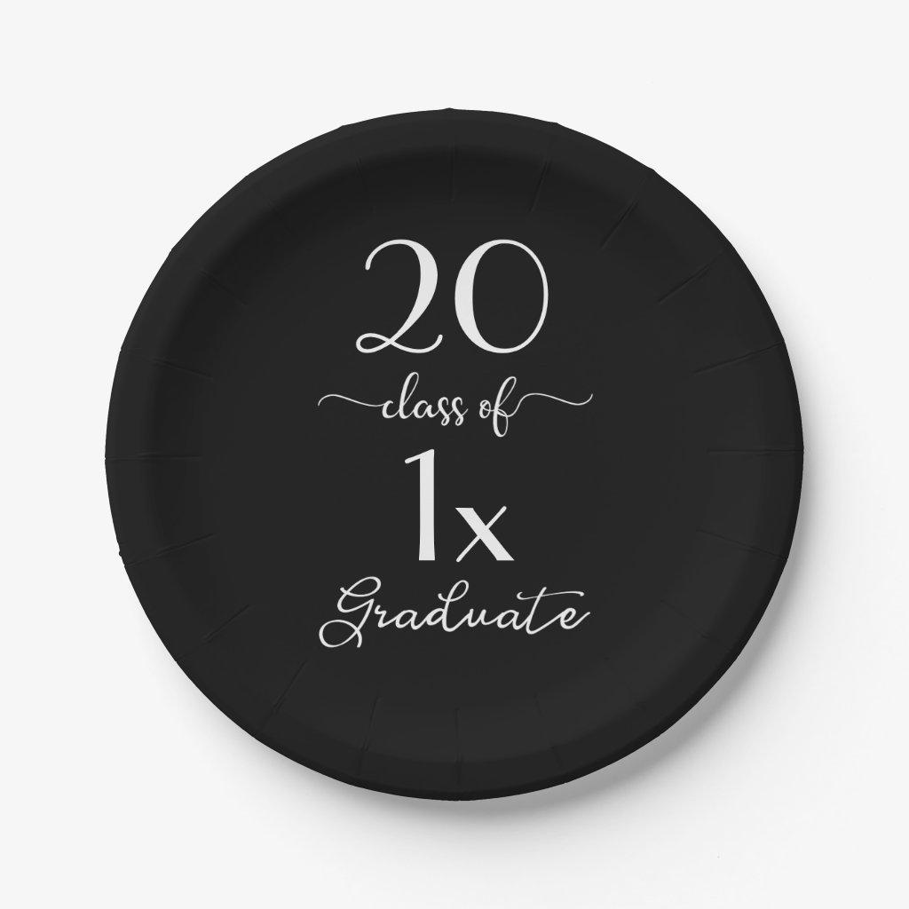Chic Black & White Class Of [YEAR] Graduate Script Paper Plate