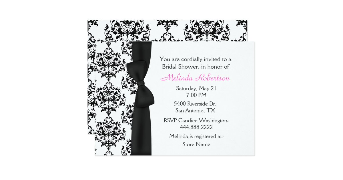Chic Black White Damask Bridal Shower Invitation – Black and White Wedding Shower Invitations