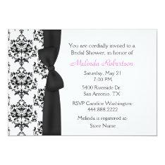 Chic Black & White Damask Bridal Shower Invitation at Zazzle