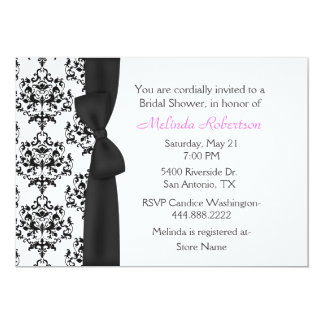 Chic Black & White Damask Bridal Shower Invitation