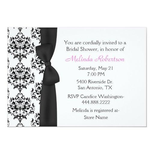 Chic black white damask bridal shower invitation zazzle for Black and white bridal shower invitations