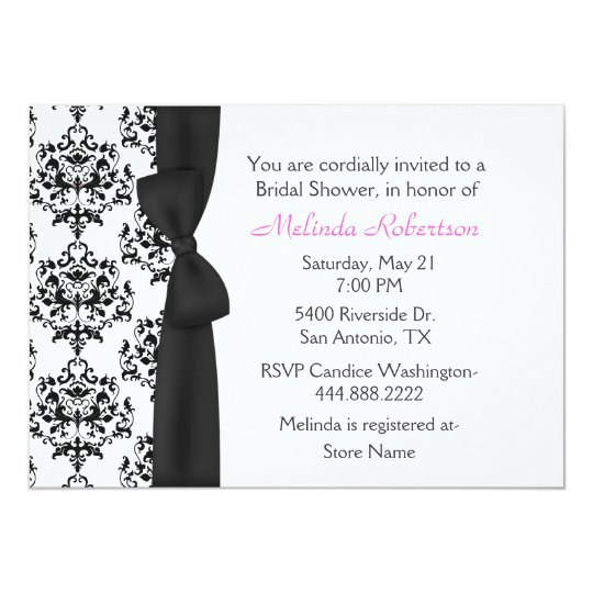 Chic black white damask bridal shower invitation zazzle chic black white damask bridal shower invitation filmwisefo