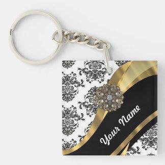 Chic black & white damask & gold keychain