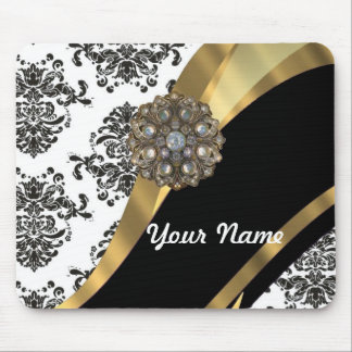 Chic black & white damask & gold mouse pad