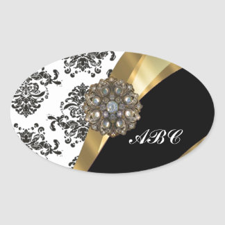 Chic black & white damask & gold oval stickers