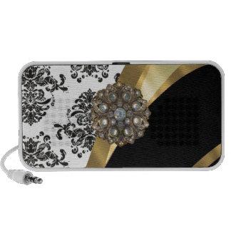 Chic black & white damask & gold speaker