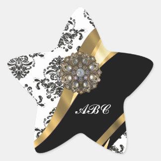 Chic black & white damask & gold stickers