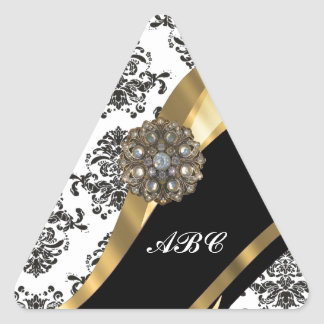 Chic black & white damask & gold triangle sticker
