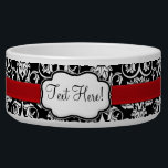 "Chic Black/White Damask Red Ribbon Bowl<br><div class=""desc"">Adorable chic and sassy high contrast black and white girly damask pattern with a classic baroque feel,  combined with the modern touch of a bright red accent strip that looks like a satin ribbon.  Personalize it with women&#39;s name or other customization. Design Copyright &#169; CustomInvitesOnline.com</div>"