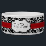 """Chic Black/White Damask Red Ribbon Bowl<br><div class=""""desc"""">Adorable chic and sassy high contrast black and white girly damask pattern with a classic baroque feel,  combined with the modern touch of a bright red accent strip that looks like a satin ribbon.  Personalize it with women's name or other customization. Design Copyright © CustomInvitesOnline.com</div>"""