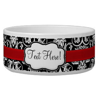 Chic Black/White Damask Red Ribbon Bowl