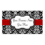 Chic Black/White Damask Red Ribbon Business Card