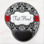 Chic Black/White Damask Red Ribbon Gel Mousepad