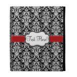 Chic Black/White Damask Red Ribbon iPad Folio Covers